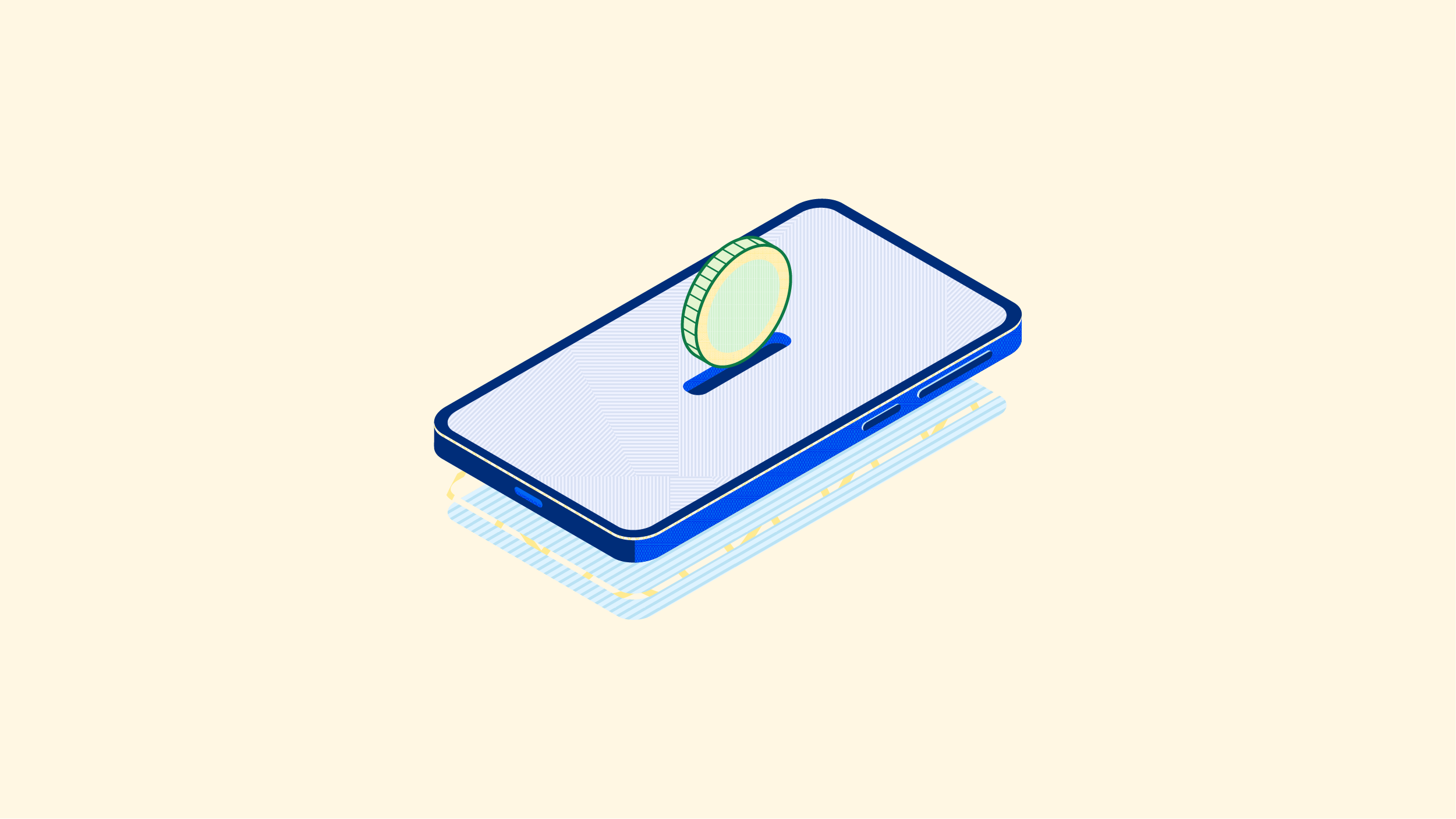 An illustration of a coin saved online