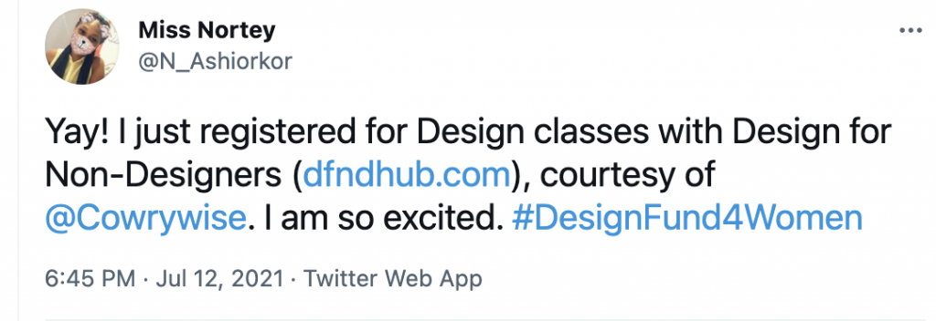 Twitter post for Cowrywise Design Fund for Women