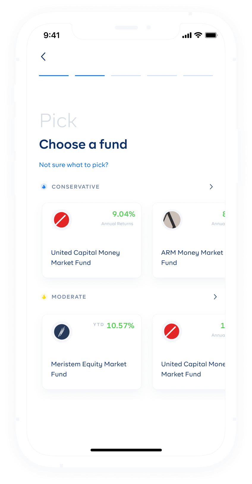 cowrywise mobile app mutual funds screen