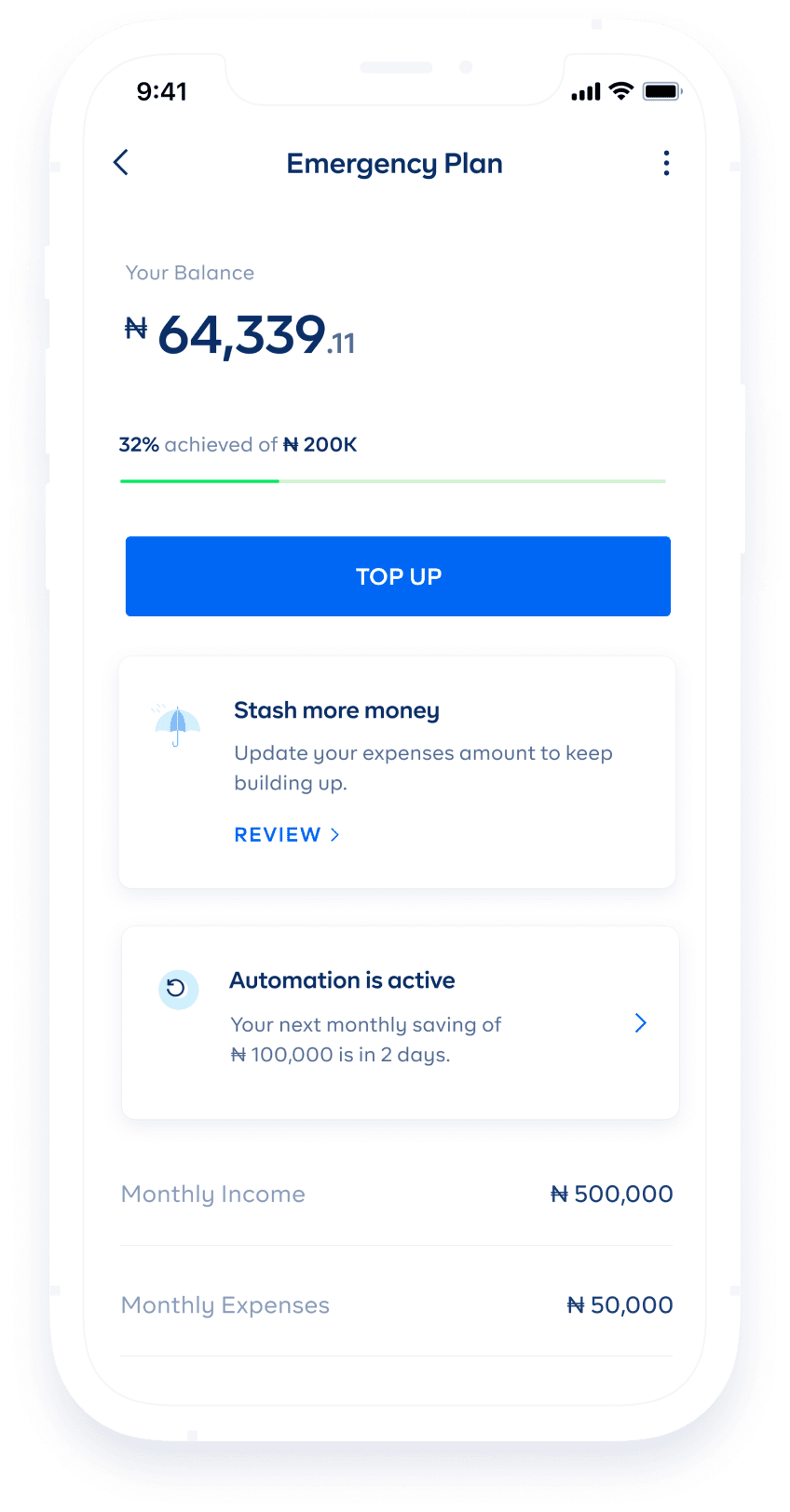 cowrywise emergency funds app savings screen